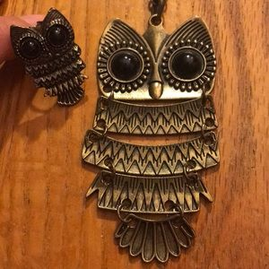 Owl Ring and Necklace Matching Set
